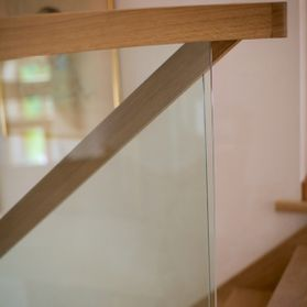 Wood and Glass Stair Banisters